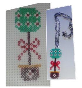 Colgante de Navidad: árbol navideño de hamabeads mini