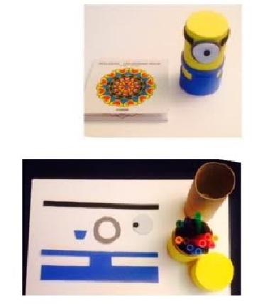Estuche cilíndrico de Minions con tubo de cartón