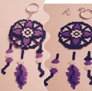 Llavero atrapasueños de hama beads mini