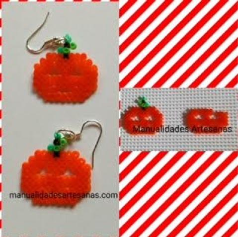 Pendientes para halloween de calabazas con hamabeads mini