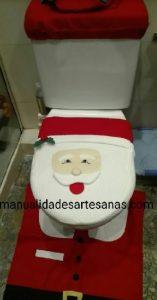 Funda inodoro Papá Noel con retales de tela