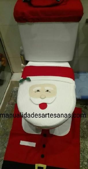 Funda para inodoro de Papá Noel con retales de tela vieja