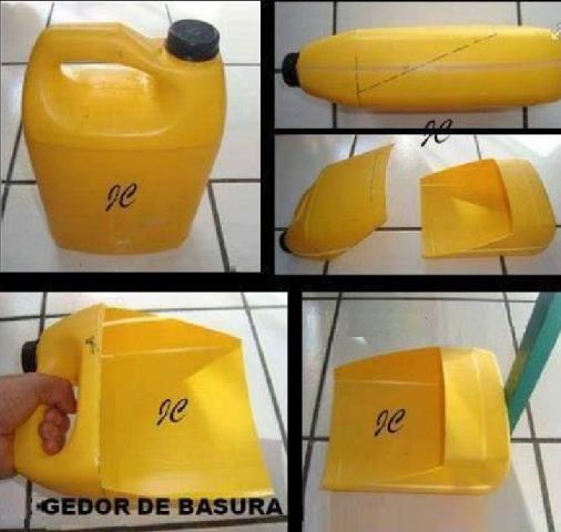 Recogedor de basura hecho con bidón de plástico