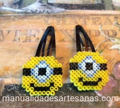 Horquillas clip de minions con perlas hama