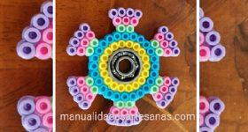 Fidget spinner redondo multicolor de perlas hama midi