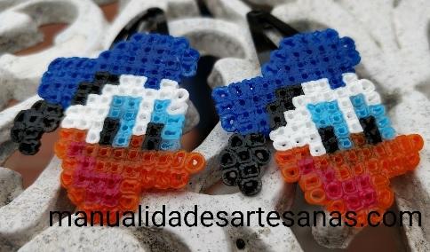 Horquillas Pato Donald con perlas hama mini