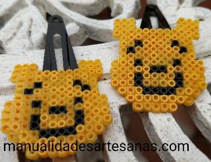 Horquillas Winnie The Pooh con perlas hama mini