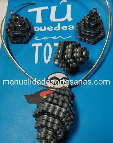 Pendientes, anillo y colgante de pirámide hexagonal 3D de perlas midi