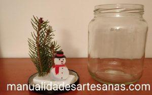 Materiales para bola de nieve casera para Navidad