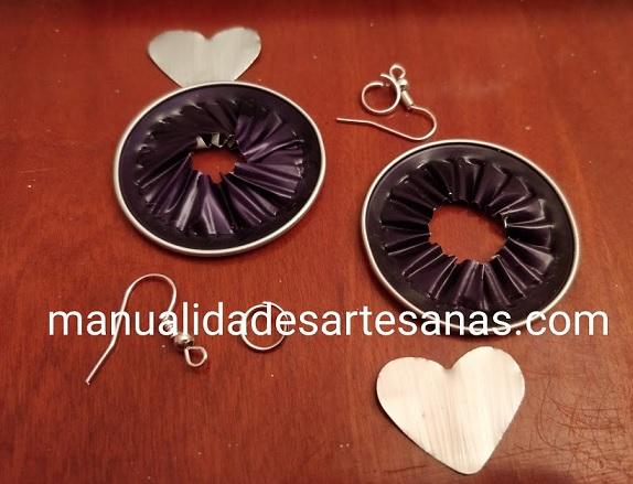 Materiales para pendientes de corazones nespresso