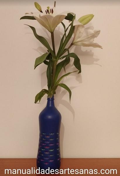Cómo hacer un florero con botella de cristal Fuensanta y puntillismo