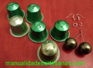 Materiales para pendientes de bisutería con nespresso