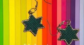 Pendientes de estrellas de brick stitch